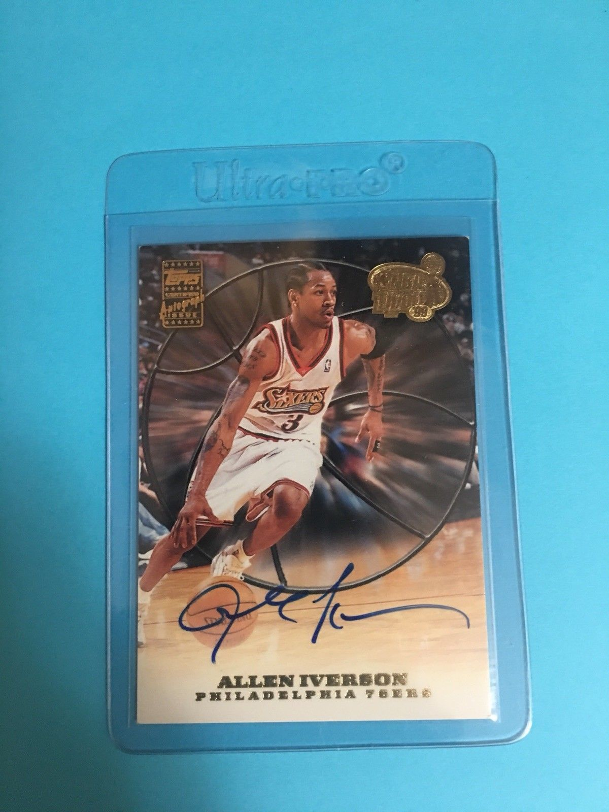 Allen iverson 199900 topps nba tipoff on card auto