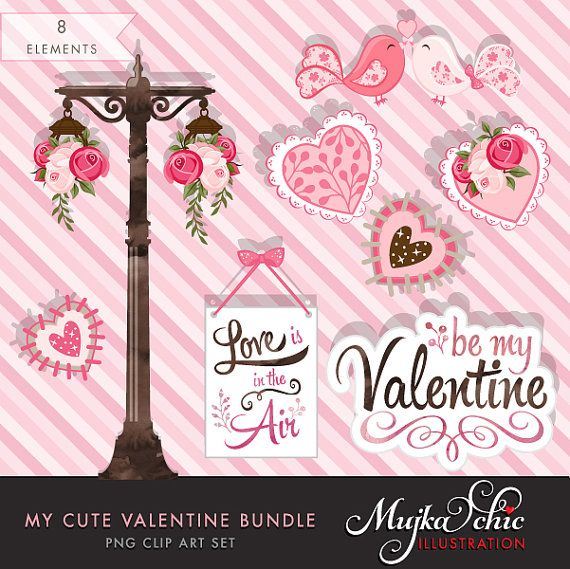 """http://etsy.me/1HumaCS Some Valentine graphics for my Etsy Store. Yes """" Love is certainly in the air""""  My Cute Valentine Clip Art and Invitation Bundle by mujka"""