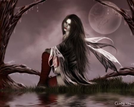 Goth Fairy Girl Beautiful Woman Dark Forest River Wings