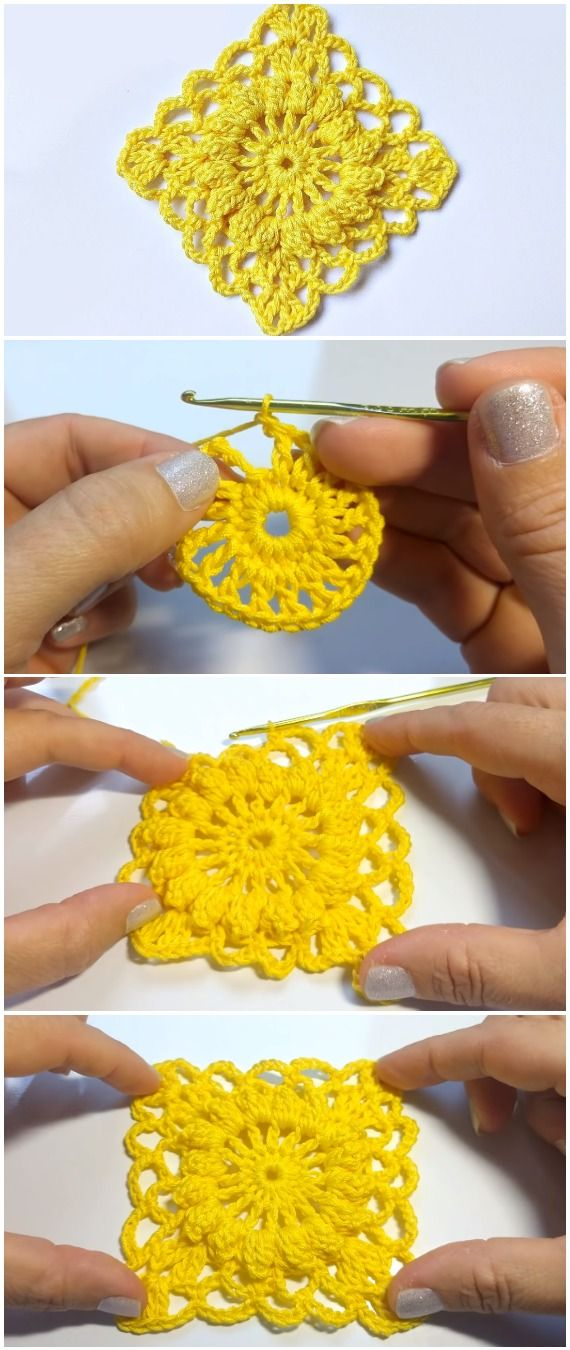Crochet Granny Square Motif | crochet | Pinterest | Muster, Wolle ...