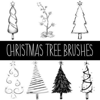 Christmas Tree Brush With Images Tree Photoshop Free Photoshop Photoshop Brushes Free