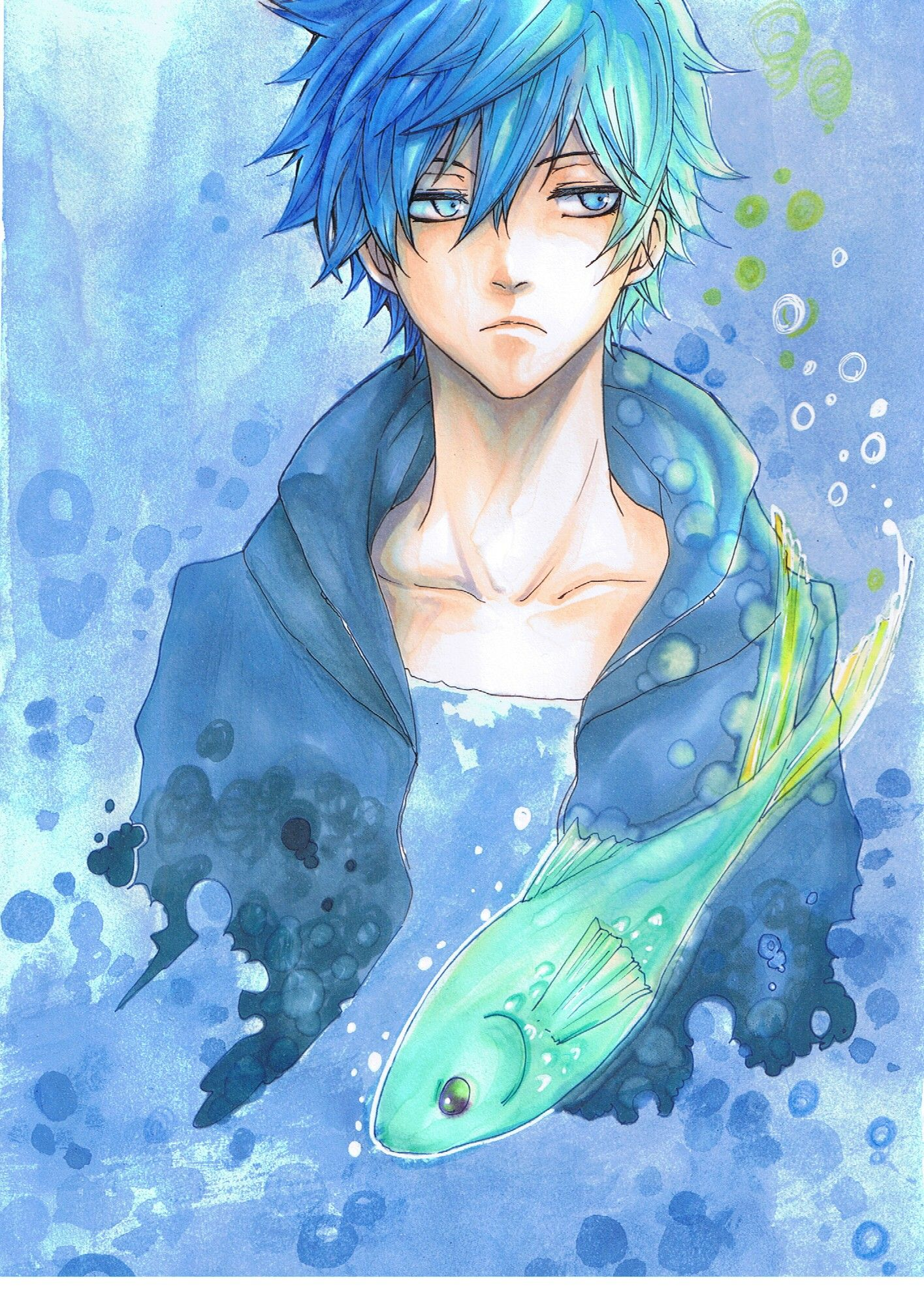 Karneval gareki beneath the sea fanart anime guy blue hair anime hair