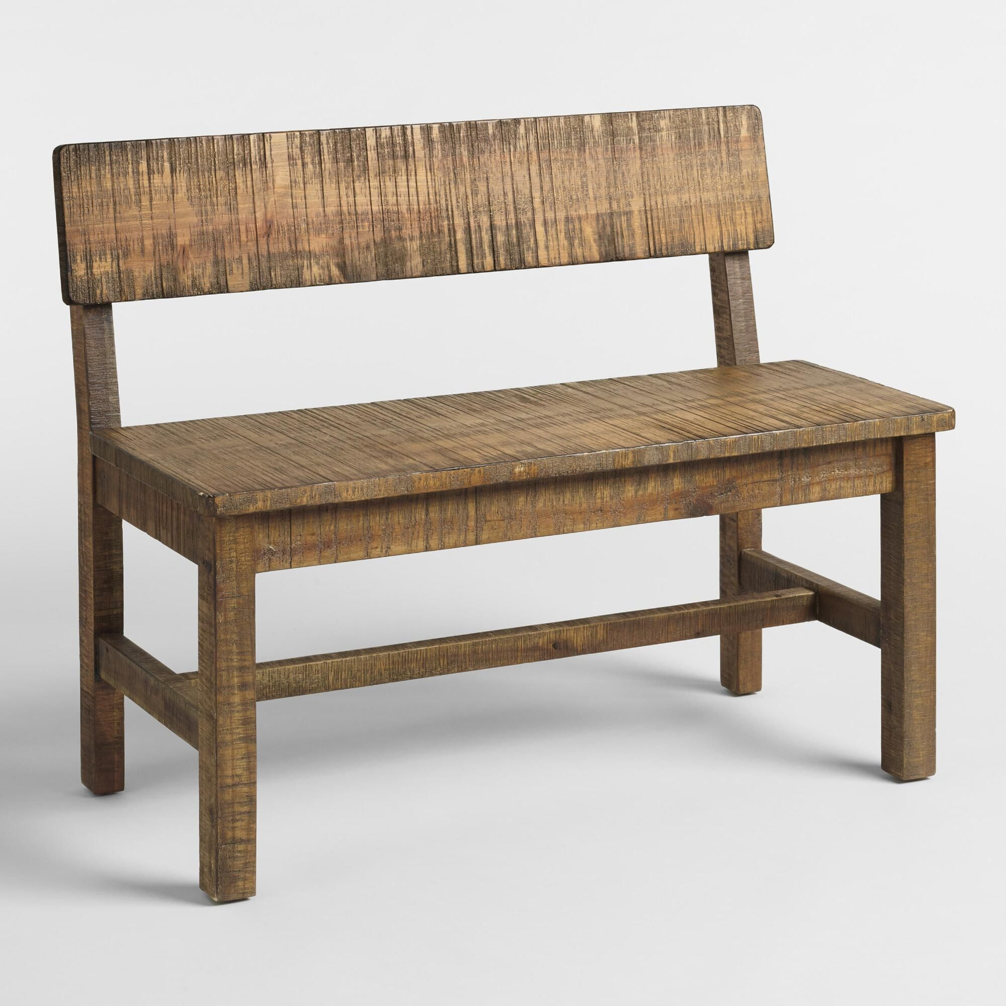 Charmant Distressed Brown Wood Gulianna Short Dining Bench By World Market