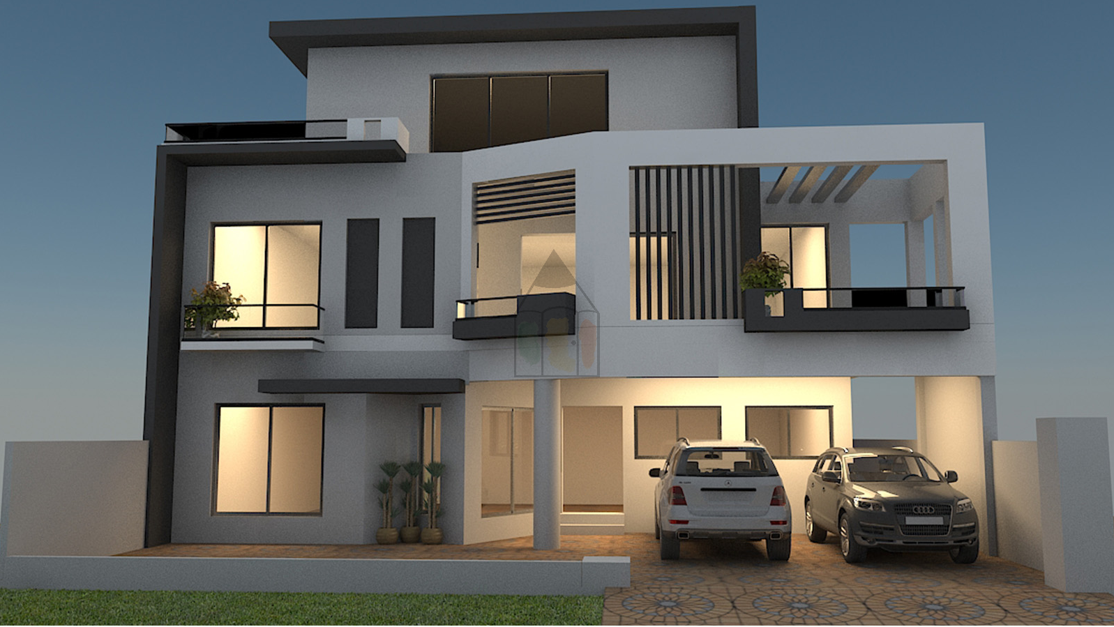 12 marla house has complete layout plan with front elevation is a double storey house having 5 bedrooms with 5 attached bathrooms where 2 bedrooms are