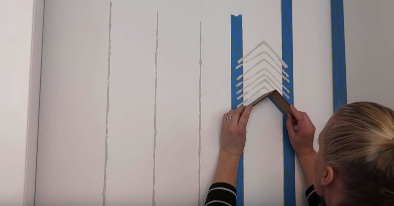 Diy Herringbone Pattern Accent Wall With Paint And Painters Tape