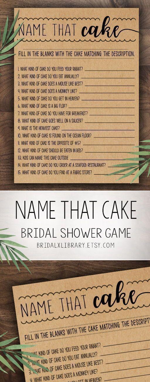 Name That Cake Game, Bridal Shower Games Printable, Bridal Shower Game Idea, Bridal Shower Instant Download, Wedding Game, Kraft Paper Game