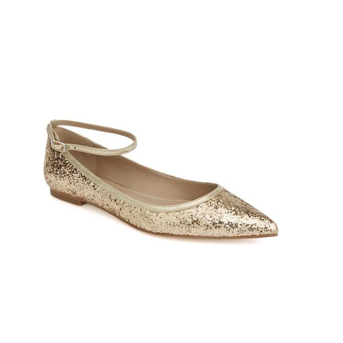 9bd711ef0fb7 Megan Hess x Shoes of Prey  Gold Sparkle Flat