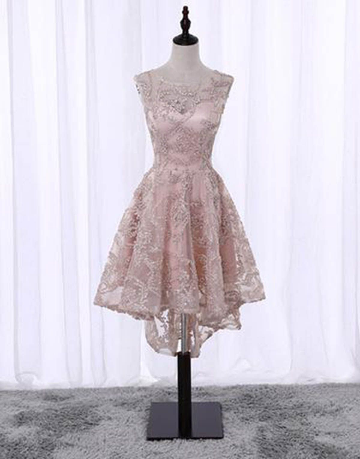 pink lace scoop neck highlow cocktail dress short prom dress