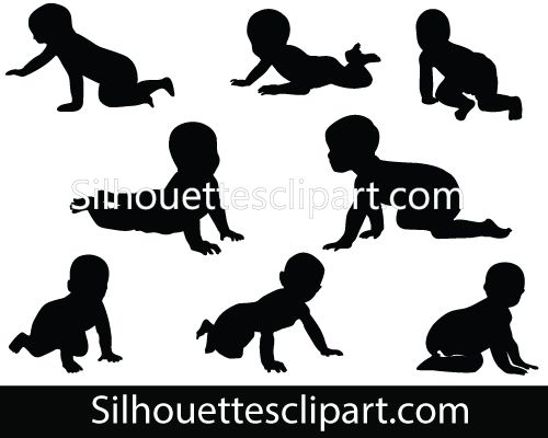 Eight Babies Crawling Vector In Different Poses Crawling Baby Teaching Kids Baby Silhouette