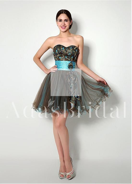 In Stock Eye-catching Tulle Sweetheart Neckline A-Line Cocktail Dresses With Peacock Pattern