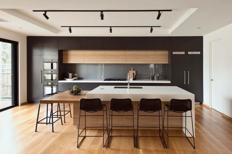 cocina americana con isla blanca y muebles negros | Cocinas ...