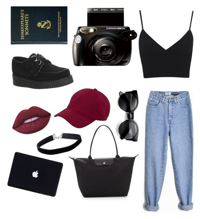 """black insta girl"" by molawho on Polyvore featuring moda, Longchamp, Miss Selfridge, Lime Crime, San Diego Hat Co., ZeroUV i Underground"