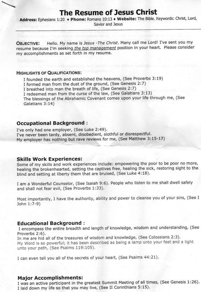 christian ministry resume | Jesus Christ\'s resume | Devotional ...