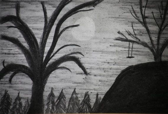 Original Drawing Charcoal Swing On A Hill  by MikeMBurkeDesigns, $5.00