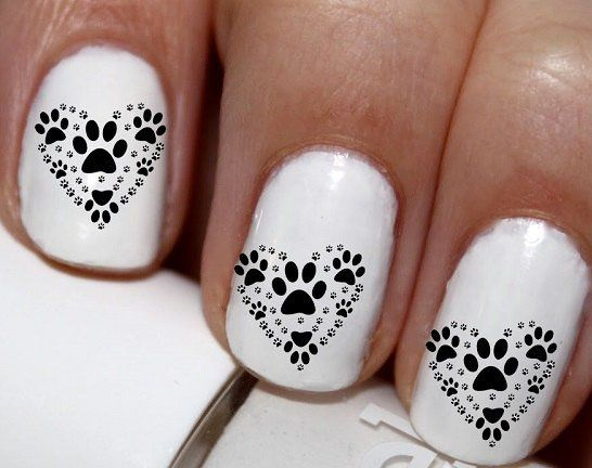 20 Pc Dog Paws Pet Paw Heart Love My Dog Nail Art Nail Decals Nail