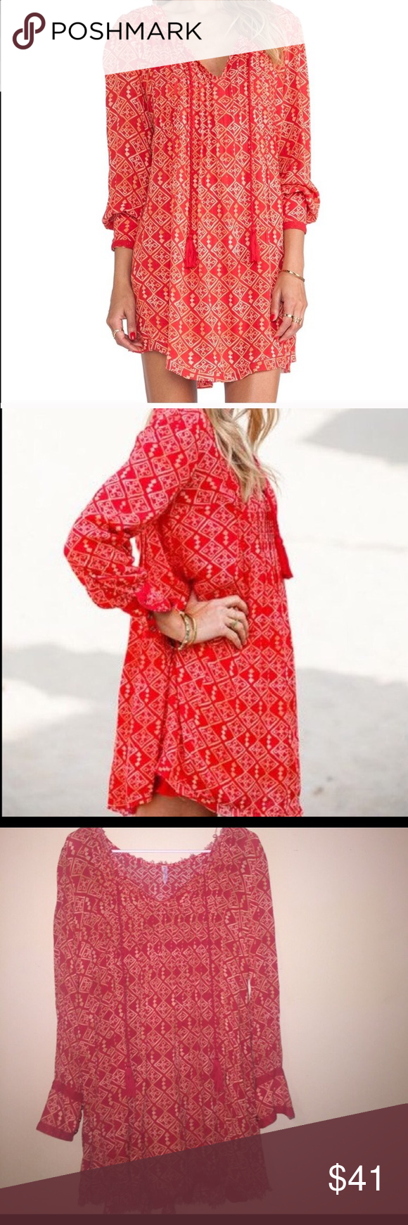 Free people flowy red long sleeve dress