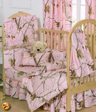 mossy oak ppink camo crib set