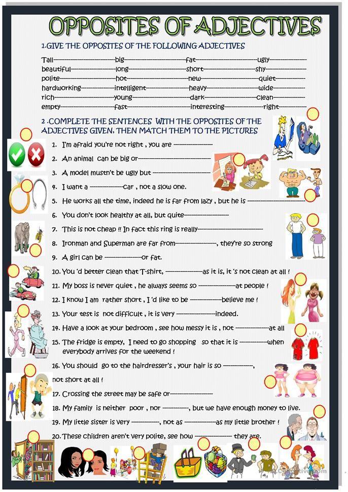 Opposites of adjectives: in sentences   Worksheets for grammar ...