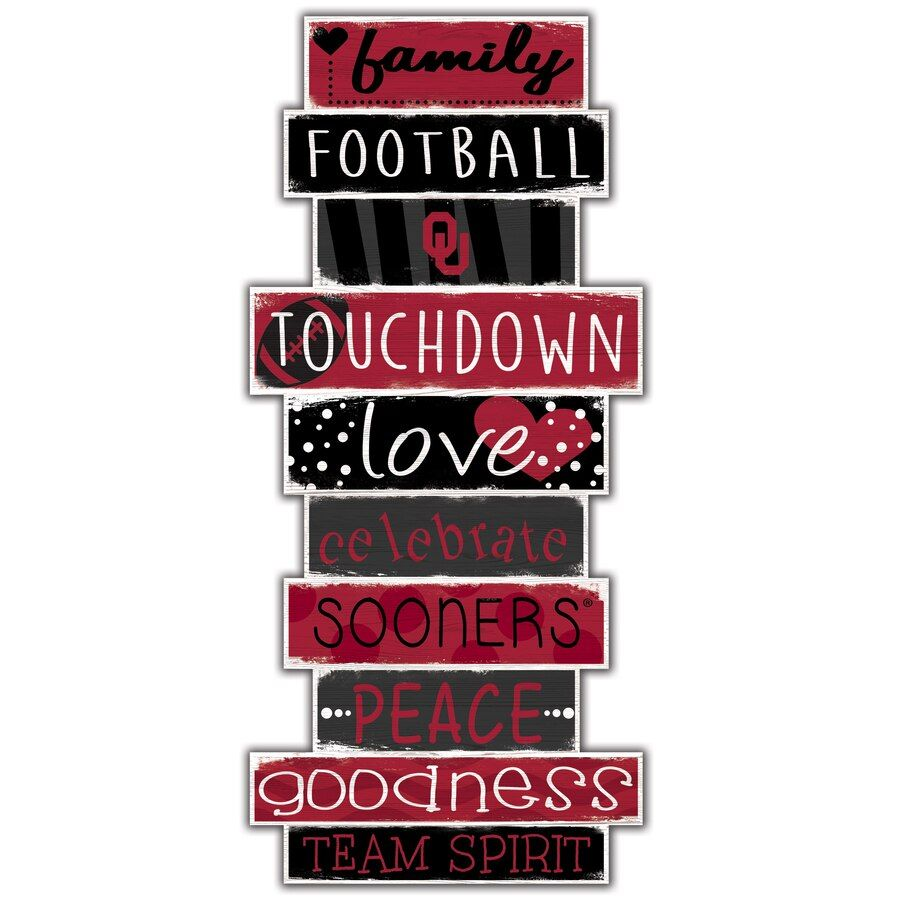 Oklahoma Sooners 5 X 24 Celebrations Stack Sign Ou Oklahomasooners Ad Fan Creations Novelty Sign Ohio State Buckeyes