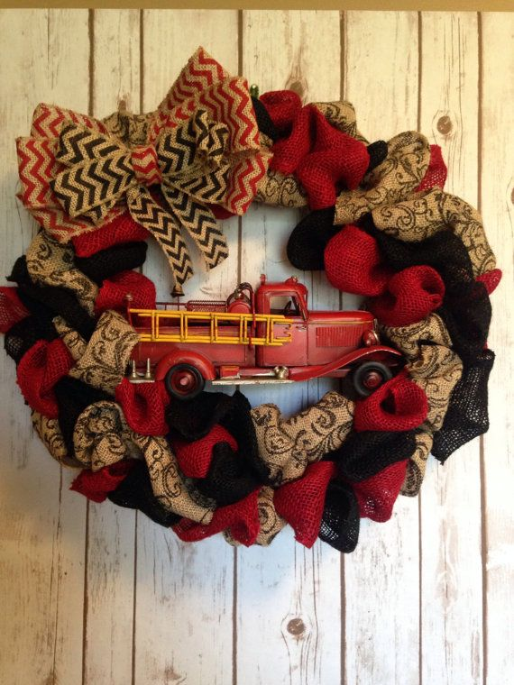 Firefighter Wreath By Napsakboutique On Etsy Firefighter