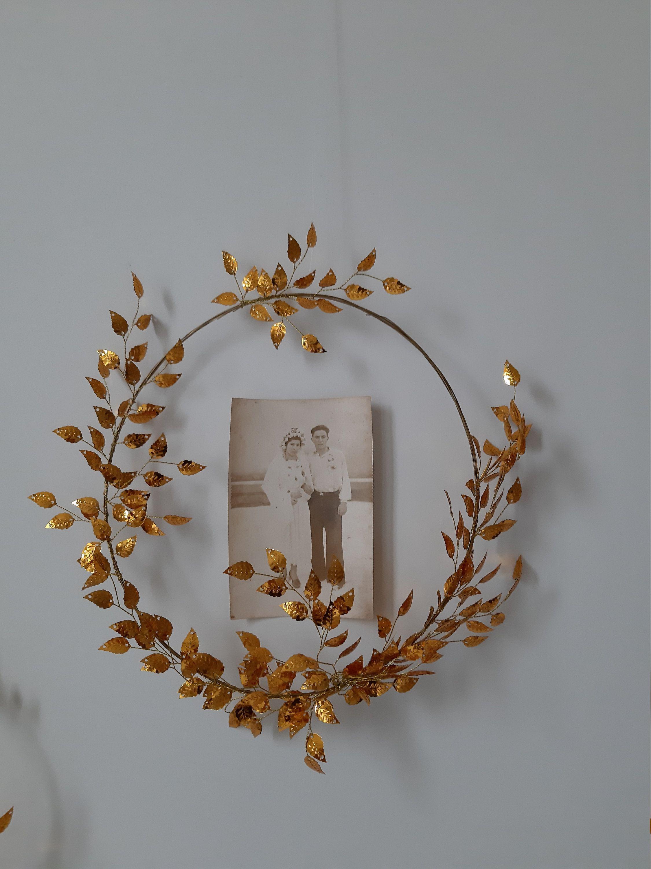 Photo of Items similar to gold leaf wreath boho bridesmaid hoop wreath wedding hoop wreath beauty and the beast wedding boho hoop bouquet metallic on Etsy