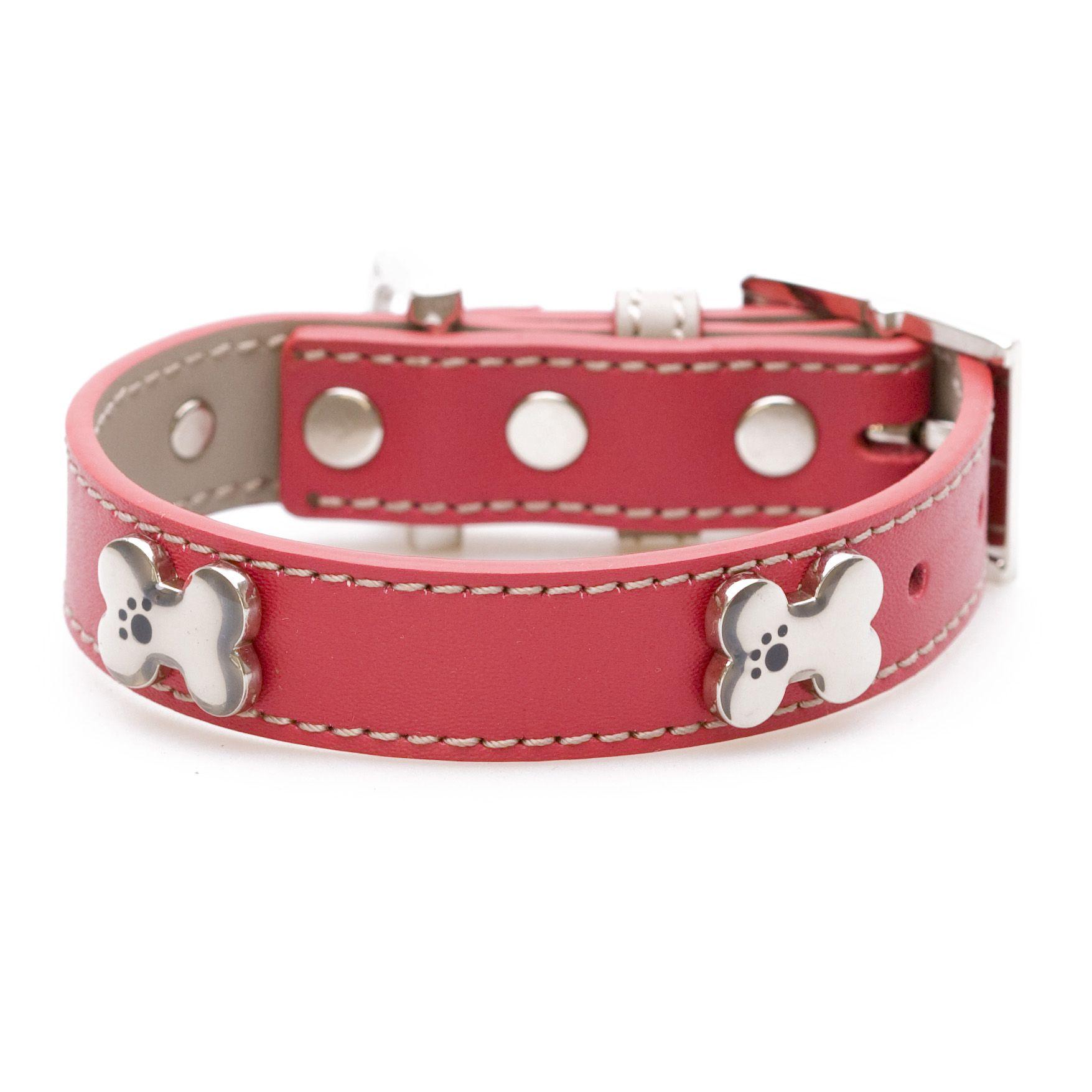 Bone Bling Red Dog Collar Leather dog collars, Red dog