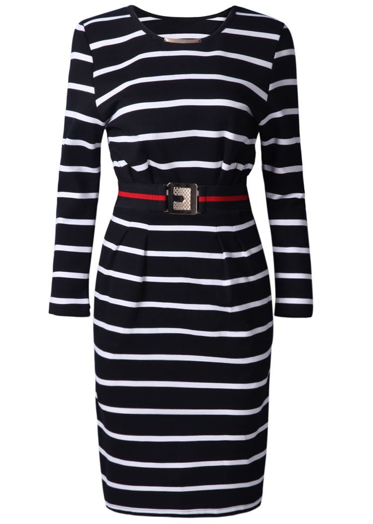 Black white striped l sleeve belt dress clothes pinterest