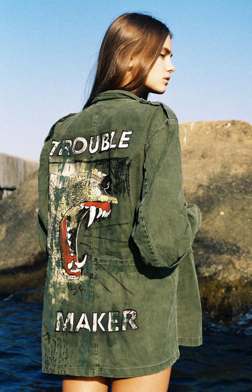 'Trouble Maker' Hand Painted Army Jacket