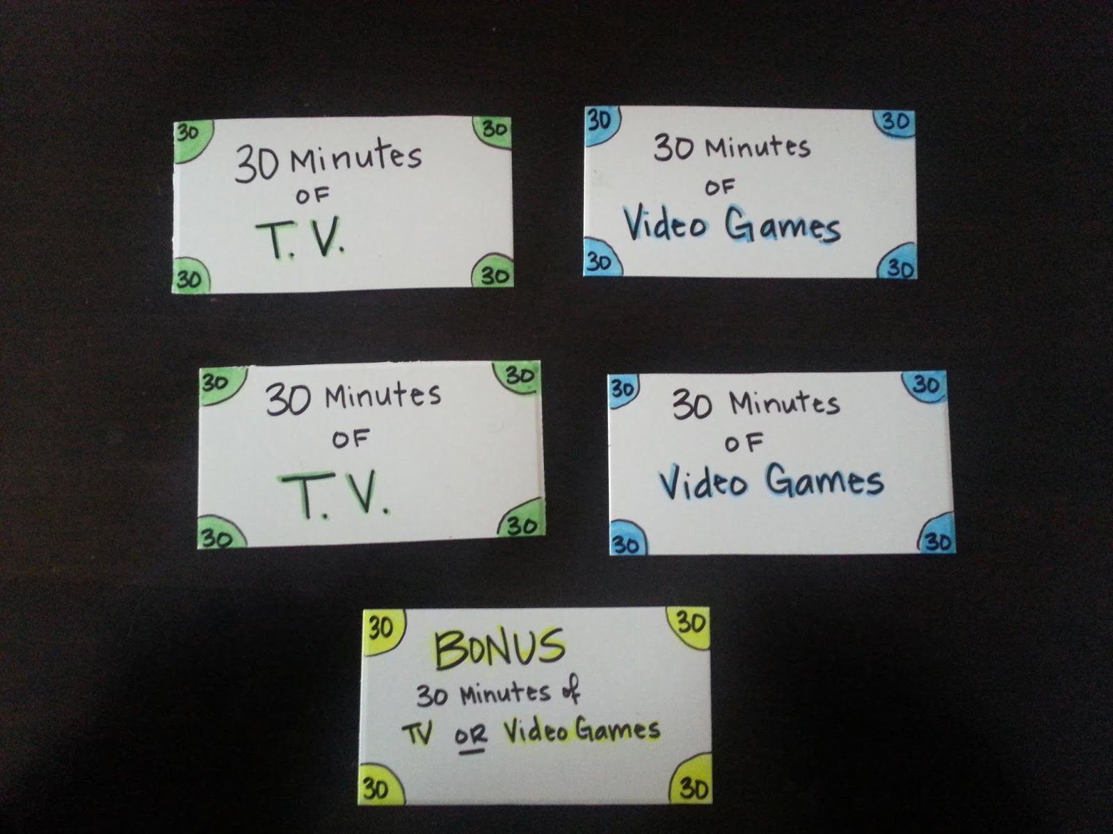 Playtime bucks for kids to video game tv time daily chart