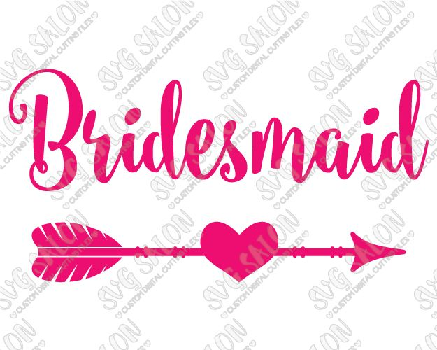 Bridesmaid Heart Arrow Wedding Party Custom DIY Iron On Vinyl - Custom vinyl decals machine for shirts