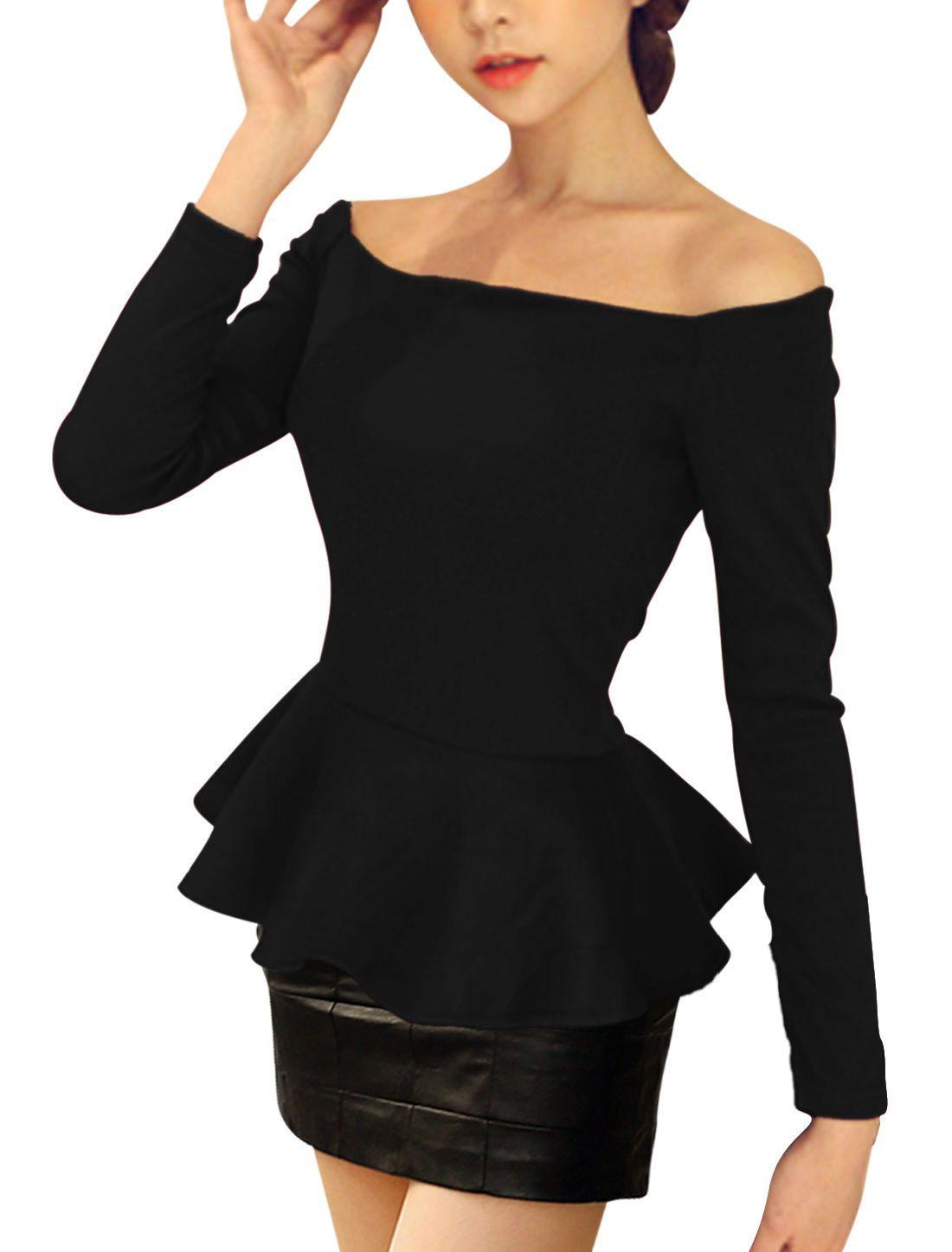 24b129de04 Allegra K Women Off Shoulder Long Sleeves Slim Fit Peplum Top ...