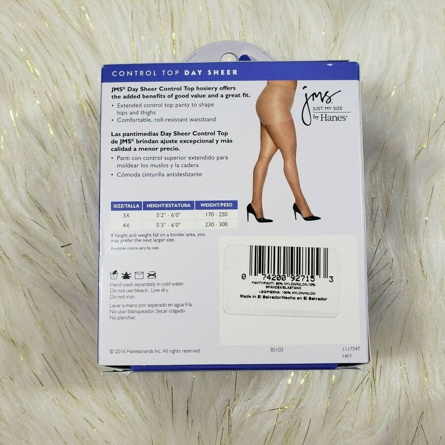 4 pair Size 3X Just My Size JMS Pantyhose Reinforced Toe Off Black 2 Lot Hanes