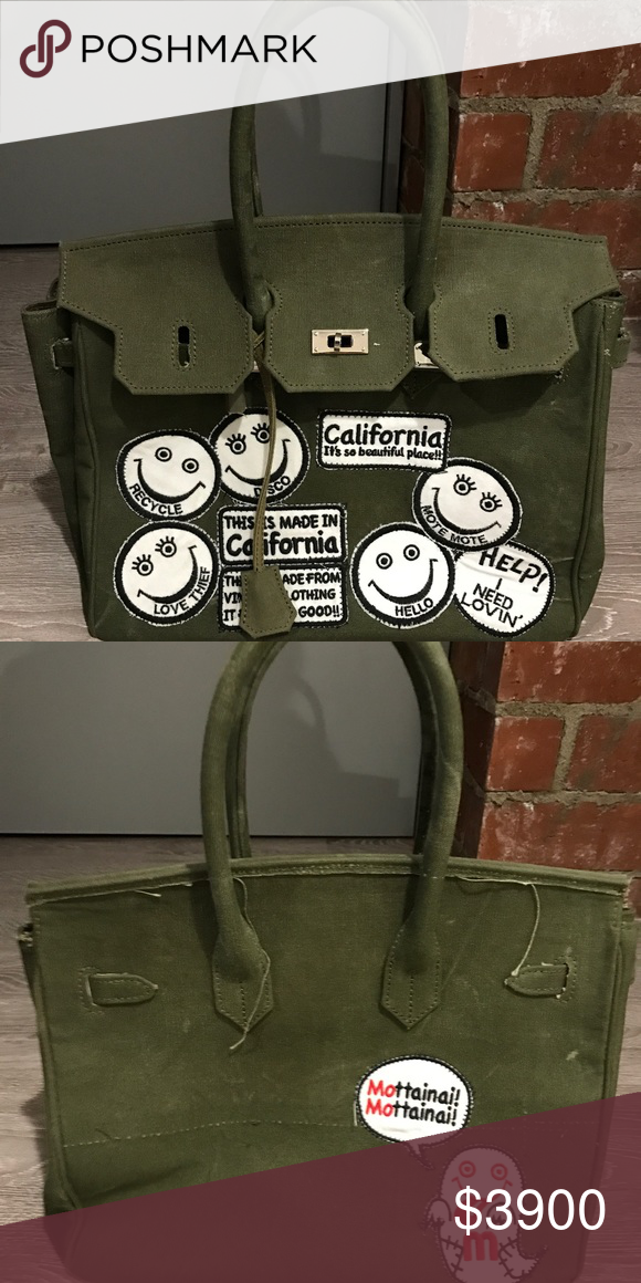 READY MADE ARMY GREEN PATCHES TOTE INSANE READYMADE ARMY GREEN TOTE WITH  PATCHES! PURCHASED AT MAXFIELD IN LOS ANGELES! readymade Bags d8698dbff77ae