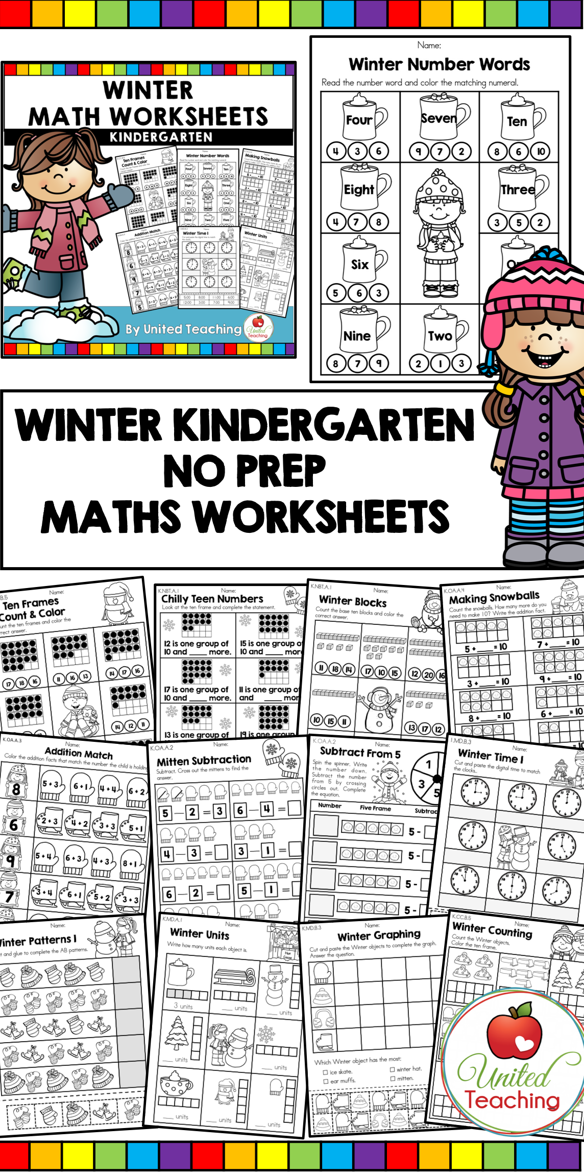 Winter Math Worksheets Kindergarten
