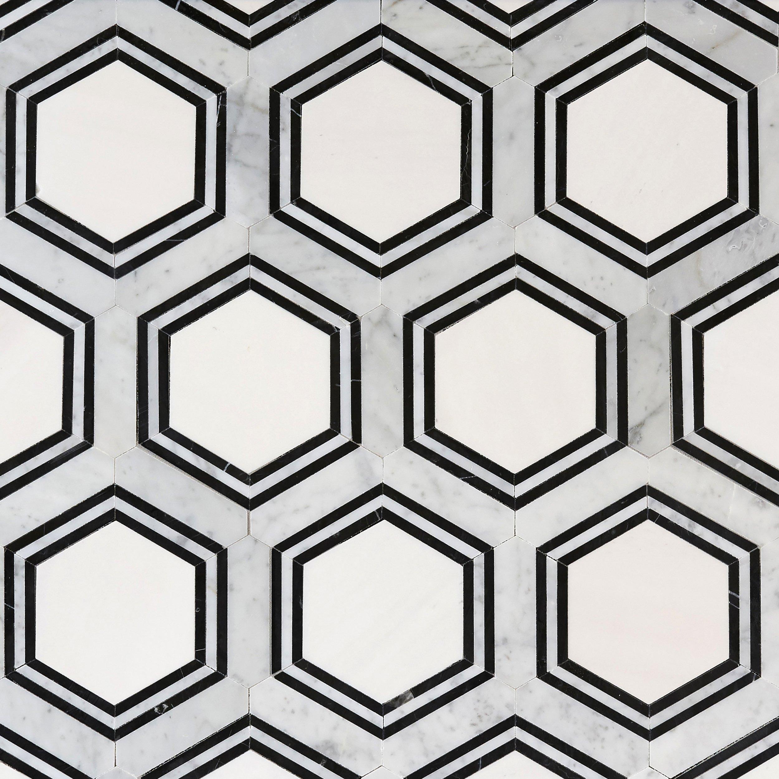 Carrara Thassos Hexagon Waterjet Marble Mosaic Marble