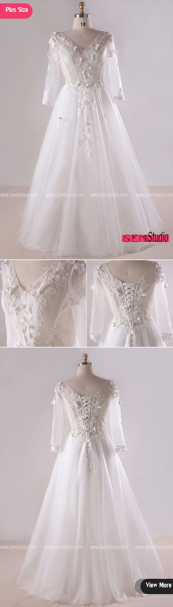 3 4 sleeve lace wedding dress  Gorgeous Plus Size White Butterflies Long Tulle Wedding Dress With