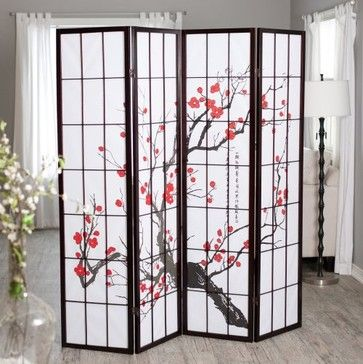 Ck Group Cherry Blossom Rosewood 4 Panel Room Divider Asian