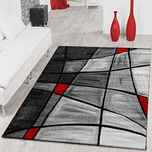 tapis salon tapis porto contours d coup s dans gris rouge noir ausverkauf couleur voir photos. Black Bedroom Furniture Sets. Home Design Ideas