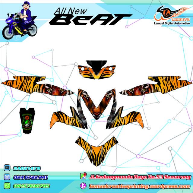 Custom Decal Vinyl Striping Motor Full Body Honda New Beat 2015