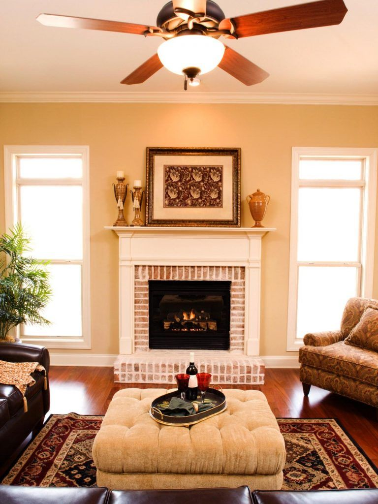 Living Room Ceiling Fan Improve Energy Efficiency With A Ceiling Fan Hgtv Red Brick Fireplaces Ceiling Design Living Room Brick Fireplace