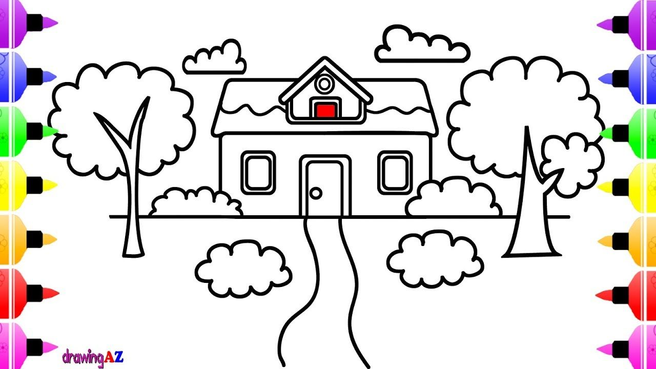 How To Draw House With Tree So Cute For Kids Coloring For Kids