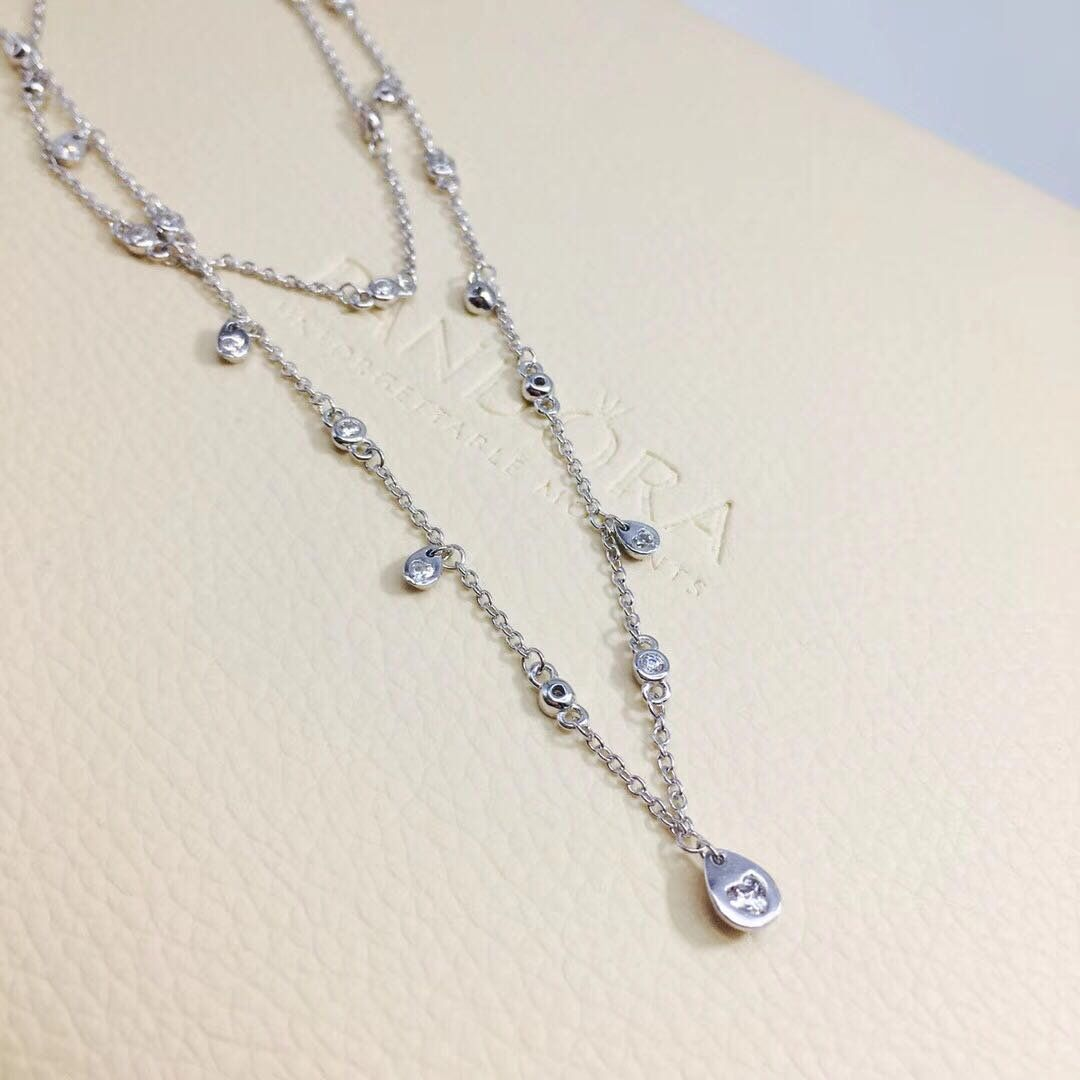 24df1215c4bbe Chandelier Droplets Necklace, 100% 925 Sterling Silver & Clear Cubic ...
