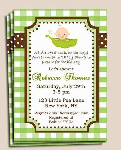 Pea In A Pod Baby Shower Sprinkle Birthday Invitation