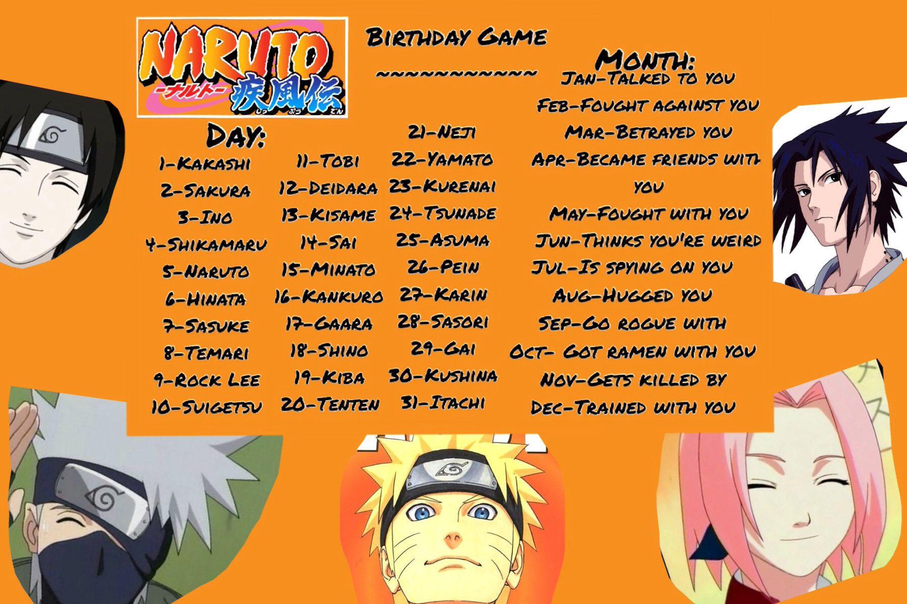 Naruto Birthday Scenario Game!! Naruto Pinterest