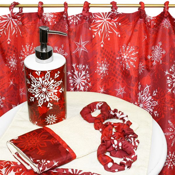 Christmas Snow Flake Red 16 Piece Fabric Holiday Shower Curtain and ...