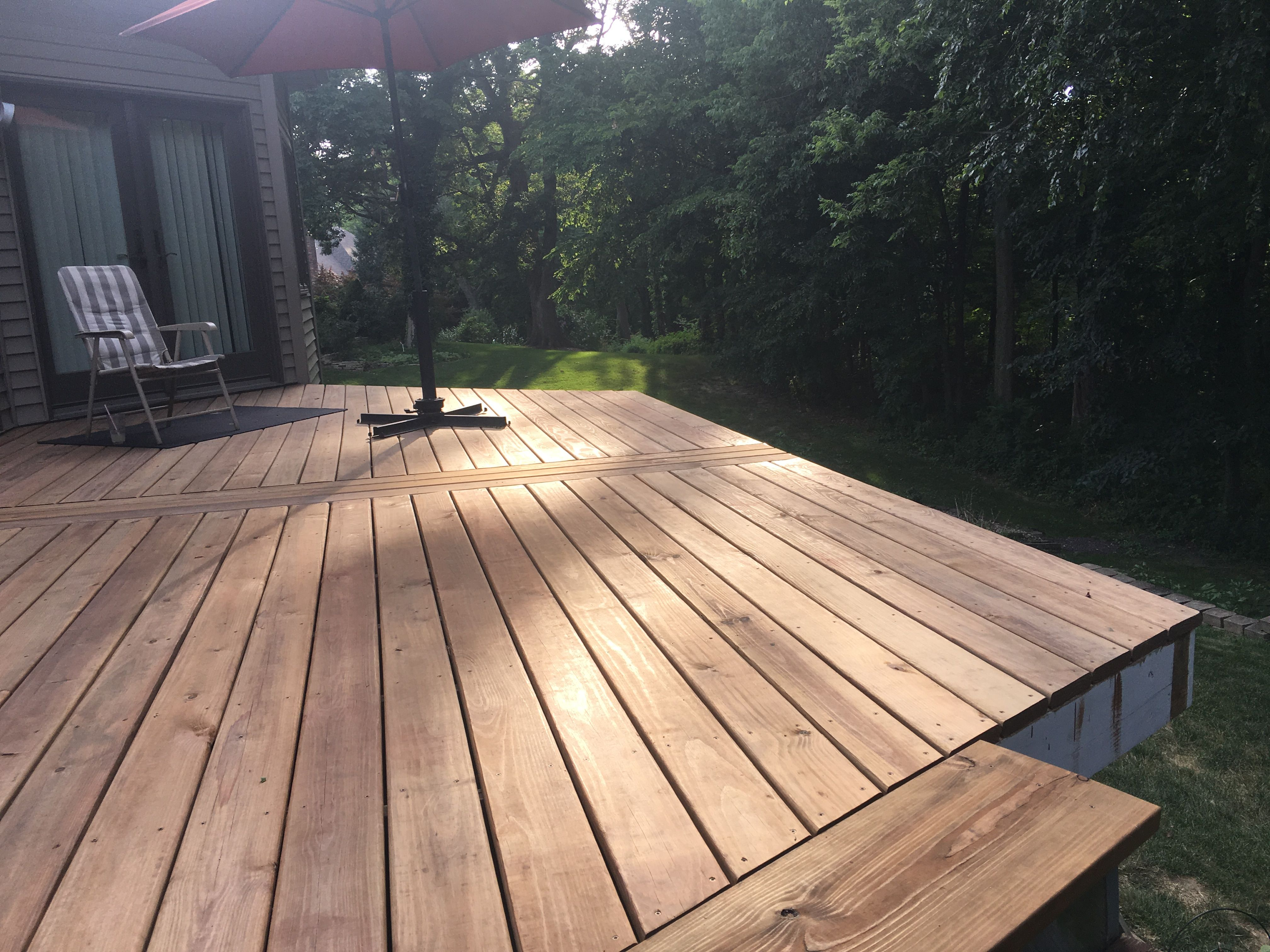 Diy Deck Renovation Completed Deck Board Installation June 2017 Ac2 Cedartone Deck Boards From Menards Deck Is 26 5 X 12 5 Deck Renovation Diy Deck Deck