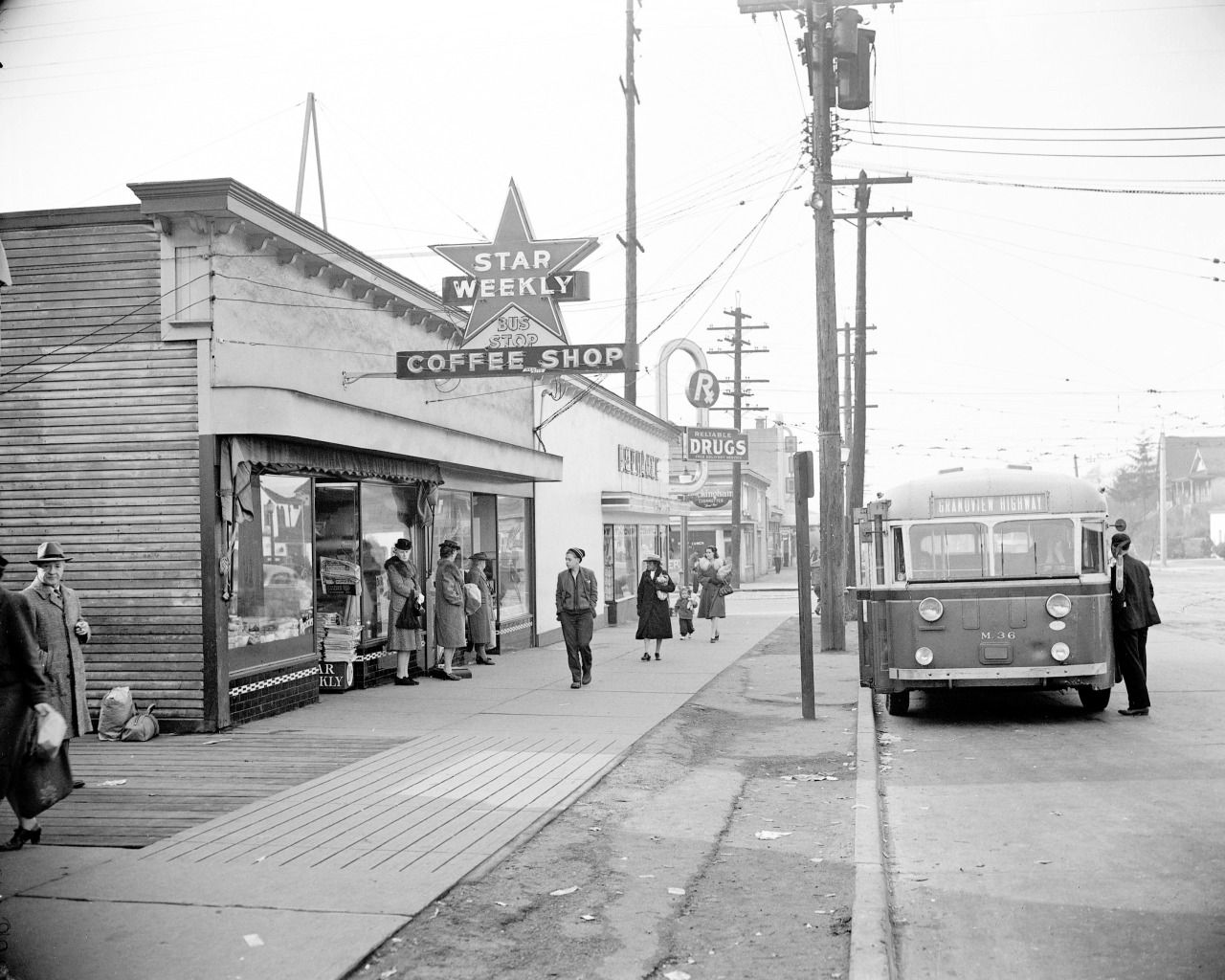 East Broadway And Commercial Drive 1940s Bus Stop