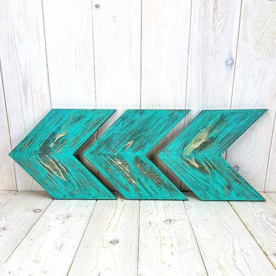 Turquoise Distressed Solid Wood Rustic Chevrons/Arrow Wall