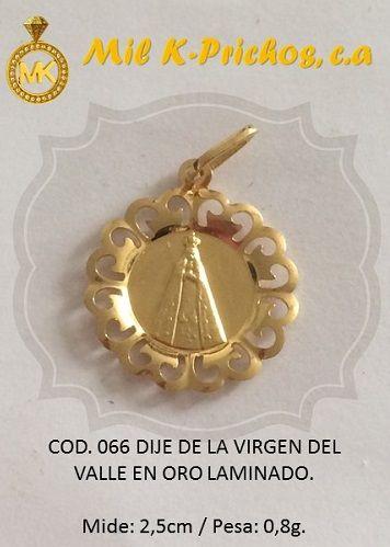 41fb328a6634 Precioso Dije de Virgen del Valle en Oro Laminado