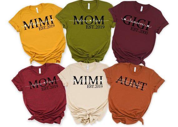 Mom Est shirt,Mom Mimi Gigi Aunt shirt Mother's Day, Gift For Her, Mother's Day Gift, Gift for mom,